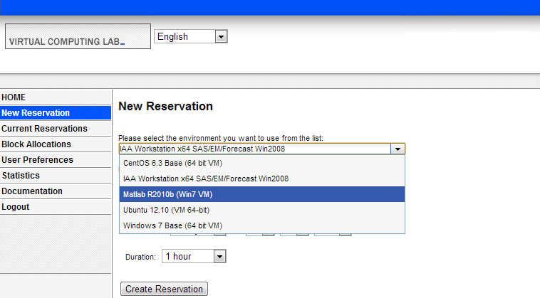 """Image of using the portal, users select from a list of customized environments and make reservations."""